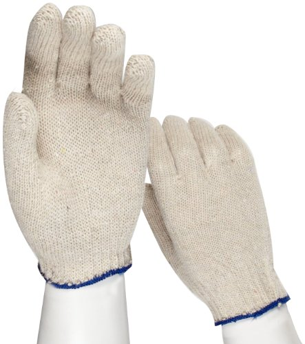 "West Chester 708SL Cotton Polyester Glove, Elastic Wrist Cuff, 8.5"" Length, Large (Pack of 12 Pairs)"