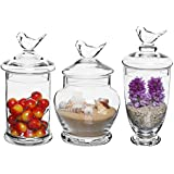 Set of 3 Clear Glass Bird Lid Design Apothecary Jars / Kitchen & Bath Storage / Candy Buffet Canisters