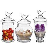 Clear Glass Apothecary Jars (3 Piece Set) with Bird Lid Design Wedding Candy Buffet Containers