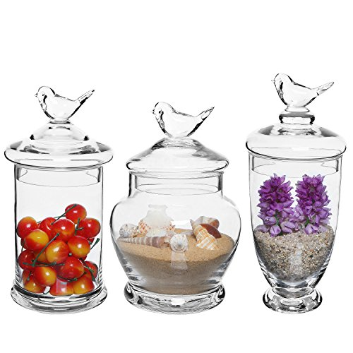 Clear Glass Apothecary Jars (3 Piece Set) with Bird Lid Design Wedding Candy Buffet -