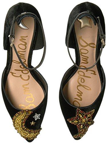 Donna Stella Caviglia Edelman Nero Scarpa Perline Tacco Velluto Black Sam F2274m1001 Cinturino Luna RX8xwRq