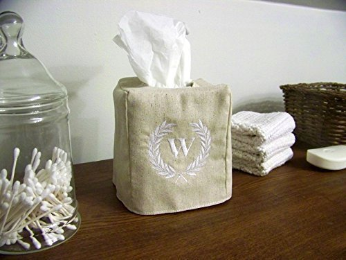 Tissue Paper Wreaths - Embroidered Laurel Wreath Tissue Box Cover
