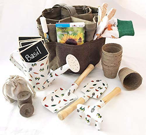 - Complete Garden Set for Kids Equipped with Garden Tote Gloves 3 Piece Tool Set Seed Packets Peat Soil Pellets Pots Watering Tin Chalk Tags and Pen (Flowers & Herbs)