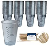 100x 10-ounce Disposable Graduated Clear Plastic Cups for Mixing Paint, Stain, Epoxy, Resin & 20x Pixiss Stix Mixing Sticks