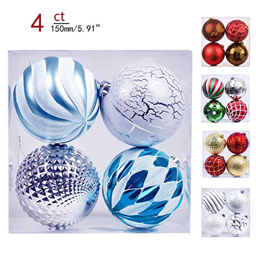 Valery Madelyn 4ct 150mm Winter Wishes Blue Silver Shatterproof Christmas Ball Ornaments Decoration,Themed with Tree Skirt(Not Included)