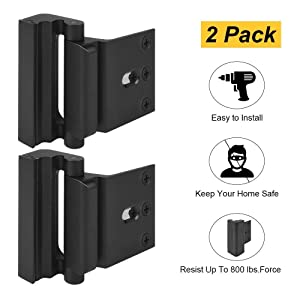 "Home Security Door Lock, Childproof Door Reinforcement Lock with 3"" Stop Withstand 800 lbs for Inward Swinging Door, Upgrade Night Lock to Defend Your Home (Black-2 Pack)"