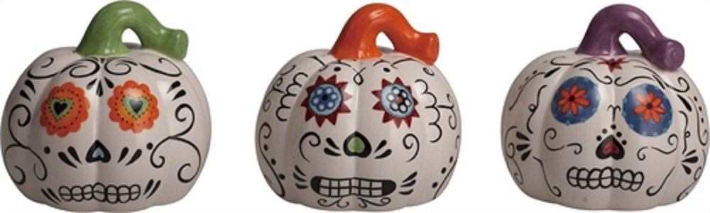 Day of the Dead LED Pumpkins - Set of 3