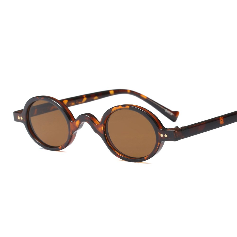 Tiny Sunglasses Male Round Vintage Sun Glasses for Women Summer Accessories (leopard with brown)