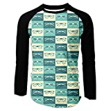 Too Suffering Mans Eyeglasses In Vintage Style Baseball Raglan Stylish Long Sleeve Tee Shirt S White
