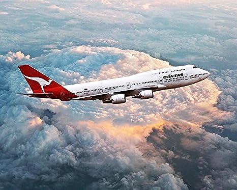 Amazon com: Qantas Airlines Boeing 747-400 in Flight 11x14