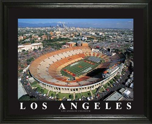 Southern California Trojans - Los Angeles Coliseum Aerial - Lg - Framed Poster Print