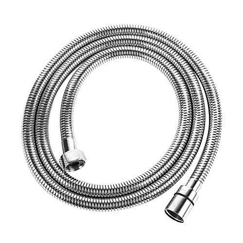 Hose Shower Portable (LORDEAR 100 Inches Portable Flexible 304 Stainless Steel Metal Extension Extra Long Shower Hose, Chrome Finish Replacement Handheld Shower Hose)