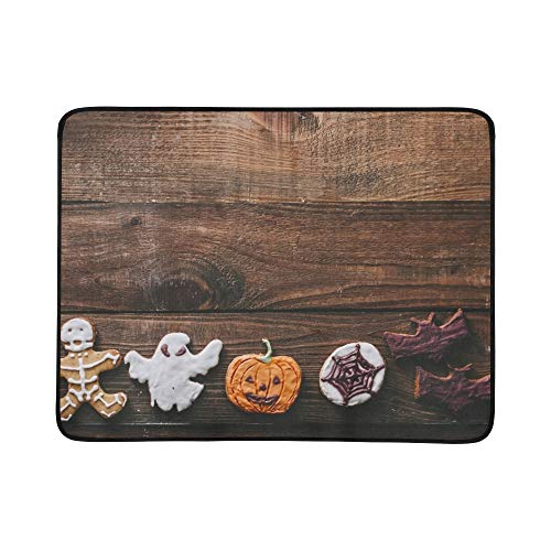 YKNFIS Halloween Cookies On Wooden Rustic Kitchen Portable and Foldable Blanket Mat 60x78 Inch Handy Mat for Camping Picnic Beach Indoor Outdoor -