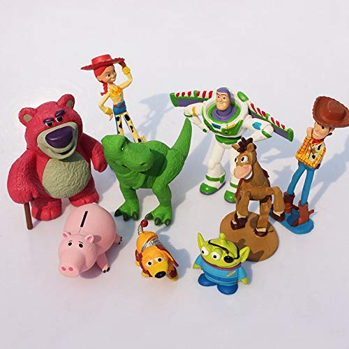 PAPCOOL Set 9 Toy Figures 1 - 3.5 inch Hot Toys Woody Buzz Lightyear Jessie Hamm Bullseye Mini Small Action Figure Christmas Collectibles Halloween Collectable Gifts Collectible Big Gift for Kids Baby