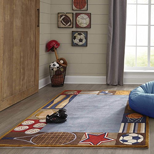 Momeni Lil Mo Whimsy Denim Sports Hand-Tufted and Hand-Carved Rug (2' X 3') 2' x 3' 2' x 3' Rectangle (Whimsy Denim Lil Mo)