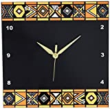 3dRose dpp_76554_1 Traditional African Pattern-Art of Africa Inspired by Zulu Beadwork Geometric Designs-Ethnic-Wall Clock, 10 by 10-Inch