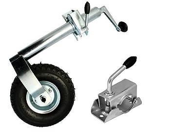 Rueda de apoyo para remolque con pinza de sujeción, hasta 150 kg, rueda de remolque neumática, rueda de apoyo: Amazon.es: Coche y moto