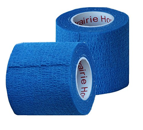 Vet Wrap Tape, Self Adherent Rap Tape, Self Adhering Stick Bandage, Self Grip Roll - (2-Inches Wide) x 15' Feet - (Blue)