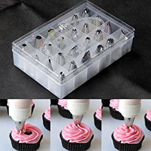 24pcs Set Box Set Icing Piping Nozzles Pastry Tips Cupcake Cake Decorating Diy Tool