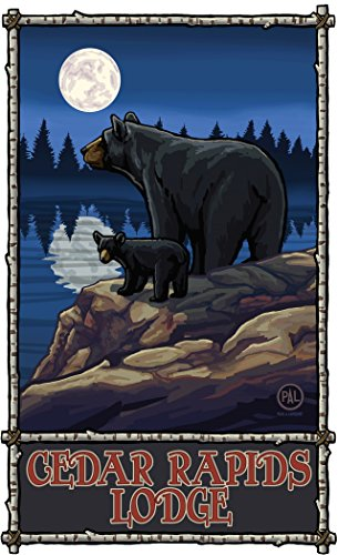 Northwest Art Mall PAL-5947 BLMF Cedar Rapids Lodge Minnesota Bear Lake Moon Forest Print by Artist Paul A. Lanquist, 11