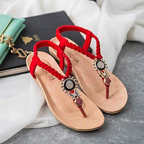 las de pie Owl del sandalias las Tongshi Rojo dulces del mujeres de sandalias playa del dedo Zapatos clip Rhinestone del 5EwnxqFY7