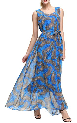 Feather Dress Maxi (Wantdo Women's Feathers Print Chiffon Maxi Dress Sleeveless Flowy Casual Long Dresses with Belt(Dark Blue, US 18 Plus))