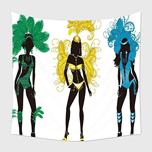 [Home Decor Tapestry Wall Hanging Vector Illustration For Carnival Silhouettes With Different Costumes 82455781 for Bedroom Living Room Dorm] (Wolf Goddess Costume)