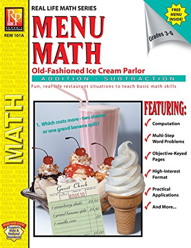- Menu Math: Old-Fashioned Ice Cream Parlor (Addition & Subtraction) | Reproducible Activity Book & Full-Color Menu