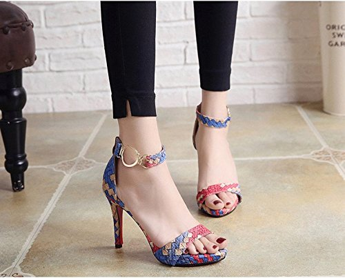 Xing Lin Summer Shoes For Women Wedges Summer New Open Toe Word Buckle Stiletto Fine Banquet Wild Female Sandals blue