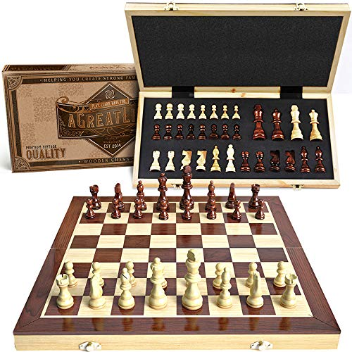 AGREATLIFE Wooden Chess Set: Universal Standard Board Game for All Ages | Well Crafted Chess Board and Pieces with Secure Storage for Pieces | Play Like a King Carrying a Unique Package