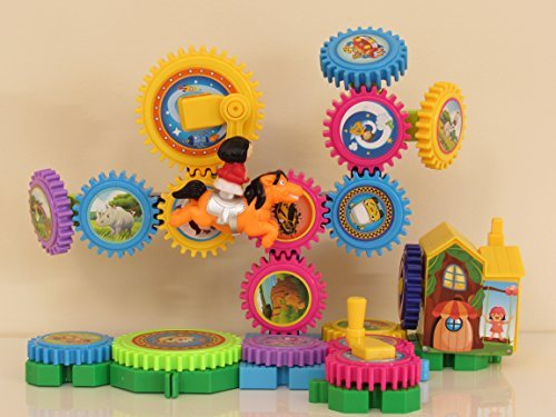 Building Blocks, Gears Toy for Kids and Toddlers- Amusement Park, Educational Music, Sing ABC SONG, Different Colors, Fine Motor Skills, Construction Toy for Boys and Girls, Battery Operated
