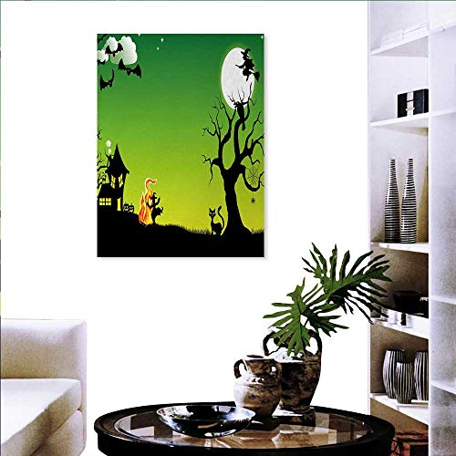Warm Family Halloween Artwork Wall Decor Witches Dancing Fire Flying at Halloween Ancient Western Horror Image Modern Canvas Painting Wall Art 20