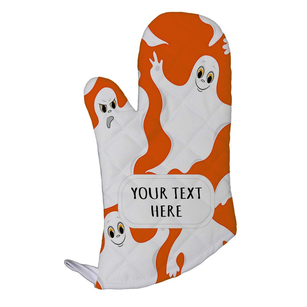 Polyester Oven Mitt Custom Spooky Ghosts Seemless Pattern Adults Kitchen Mittens