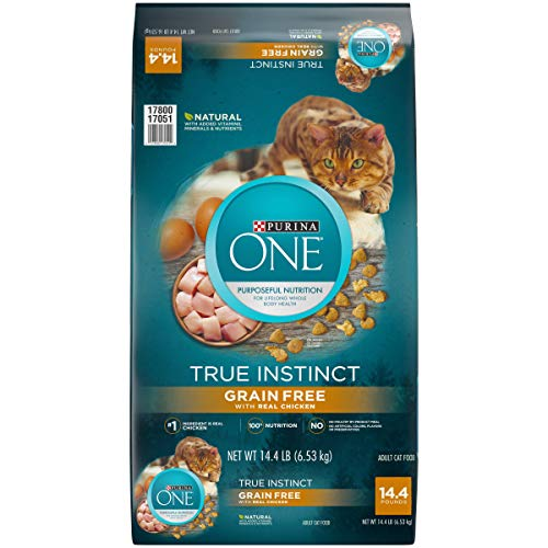 Purina ONE Natural, Grain Free Dry Cat Food, True Instinct Grain Free With Real Chicken - 14.4 lb. Bag (Purina One Grain Free Dog Food)