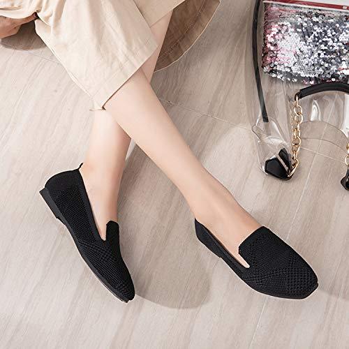 Respirantes coloré Ballet Chaussures Femmes Noir Mesh Zhrui Noir Taille Flats Eu 38 Confortables qfXH4xn1wB