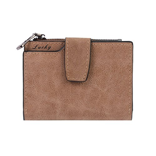 Brown Leather Womens Bank (Damara Womens Medium Faux Leather Coin Purse Card Holder)