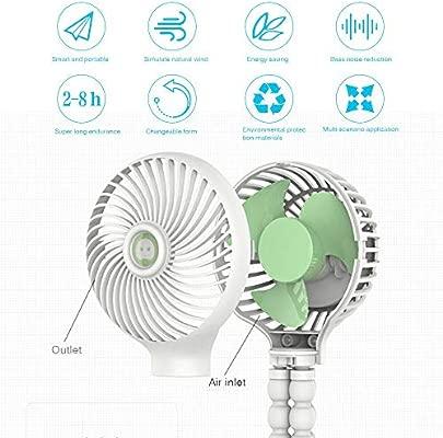 Layopo USB Rechargeable Portable Desk Fan with Flexible Tripod Mini Handheld Stroller Fan 3 Speed Adjustable Baby Fan Handheld Fan for Stroller//Student Bed//Bike//Travel//Office