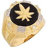 Kyпить 10k Two Tone Gold Onyx White CZ Cannabis Marijuana Pot Leaf Mens Ring на Amazon.com