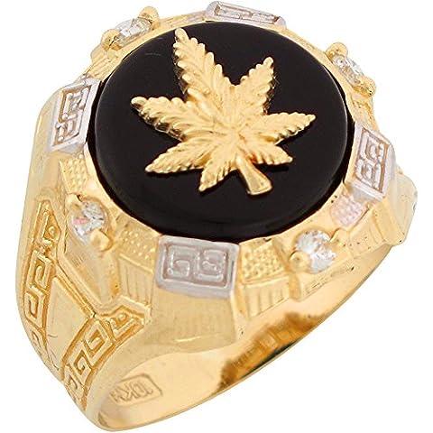 10k Two Tone Gold Onyx White CZ Cannabis Marijuana Pot Leaf Mens Ring (Leaf Ring White Gold)