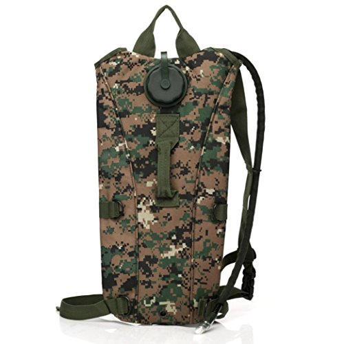 Malloom 3L 3 litros (100 onzas) Bolsa de bolsa de agua de vejiga hidratación Pack senderismo escalada mochila al aire libre de supervivencia (Gris) Camuflaje
