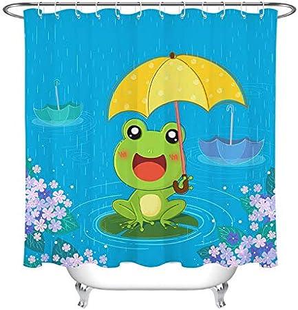 LGXINGLIyidian Niños De Dibujos Animados Rana Paraguas Rainy Day Ducha Cortina Mamparas De Baño Tejido De Poliéster Impermeable para La Decoración De La Bañera 250X200Cm: Amazon.es: Hogar