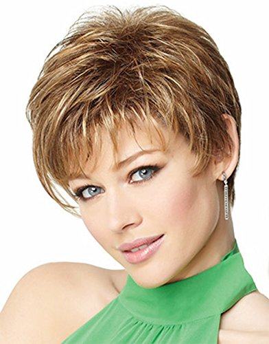 FENCCA Short Curly Wigs for White Women Brown Bob Hair Wig Natural Looking Heat Resistant Synthetic Fashion Wig with Wig Cap (Blonde with Brown) FC019