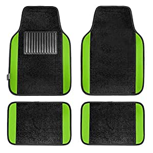 FH Group F14407GREEN Premium Full Set Carpet Floor Mat (Sedan and SUV with Driver Heel Pad Green)