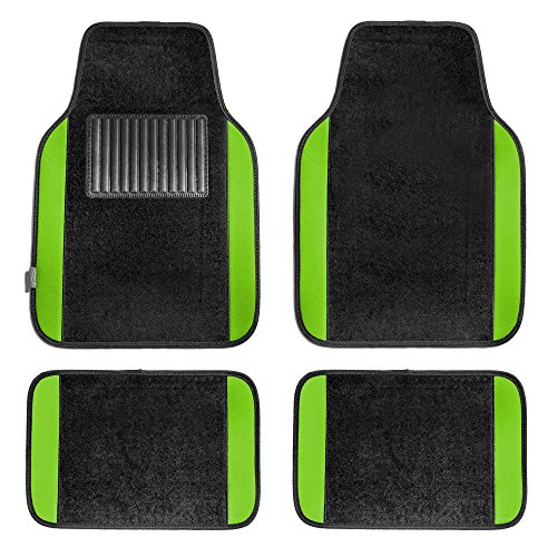 FH Group FH-F14407 Premium Carpet Floor Mats Green/Black Color - Fit Most Truck, SUV, or Van