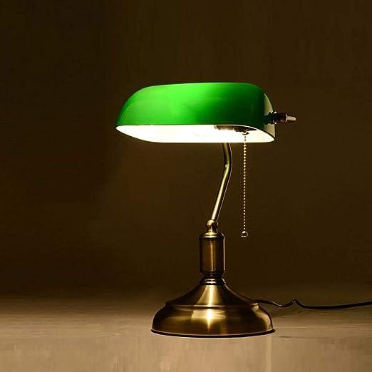 Lampe de Table Lampe de banquier Vintage Classique E27 avec Interrupteur Vert Abat Jour en Verre Couverture Bureau lumières pour Lecture Maison