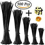 #7: KASZOO Zip Ties 500 Pcs Nylon Cable Zip Ties with Self-Locking 4/6/8/10/12 Inch Black UV Resistant Heavy Duty