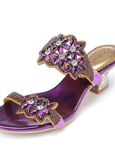 ShangYi Womens Shoes Leather Chunky Heel Heels Sandals / Heels Party & Evening / Dress / Casual Blue / Purple Purple