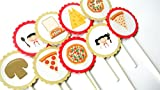 12 Pizza Cupcake Toppers, Pizza Party, Girls Night, Pizza Birthday Toppers, Pizza Chef, Cake Toppers, Pizza Baby Shower, Chef Party, Movie Theme, Pizza Night offers