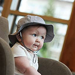 Toddler Sun Hat with Chin Strap, Drawstring Adjust Head Size, Breathable 50+ UPF (M: 6m - 3Y, Tiny argyle )