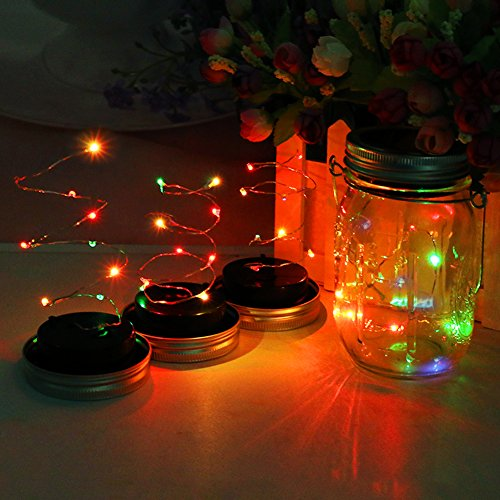 Solar Mason Jar Lights, 4 Pack Lids with 1 Pack Mason Jar Multi-color Solar Mason Lamp for Wedding Holiday Party Decorative, Lighting Fit for Regular Mouth Jars
